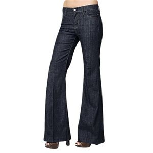 7FAMK Ginger Flare Long Wide Leg Jeans Dark Denim